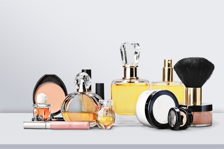 Foto de Aromatic Perfume bottles on background - Imagen libre de derechos