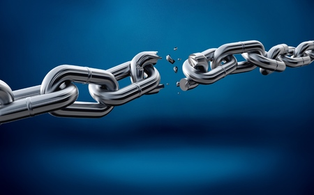 Photo for Broken metal chain on blue background - Royalty Free Image