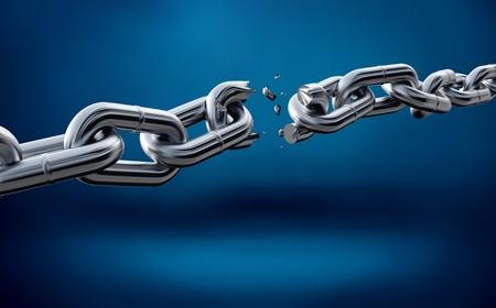 Foto de Broken metal chain on blue background - Imagen libre de derechos