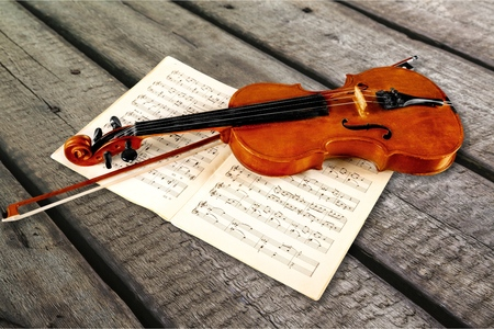 Photo for Photo Of Violin And Musical Notes - Royalty Free Image