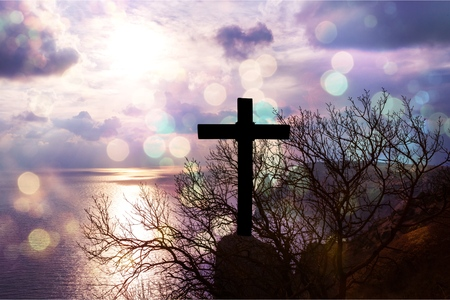 Photo pour Christ Jesus concept: cross in the morning at sunrise          - Image - image libre de droit