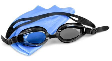 Photo for Swimming cap isolated equipment swimming goggles swim sport - Royalty Free Image