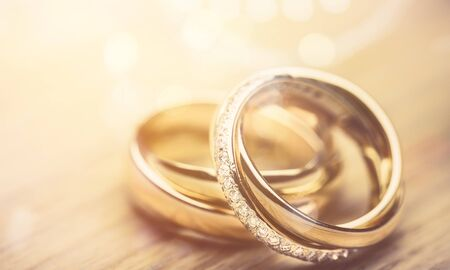 Photo for Engagement rings on desk - Royalty Free Image