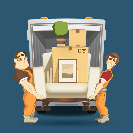 Ilustración de Two loaders movers man holding and carrying armchair with cardboard box, flower, pictures and books. Moving services 3d creative concept and conceptual color vector illustration. - Imagen libre de derechos