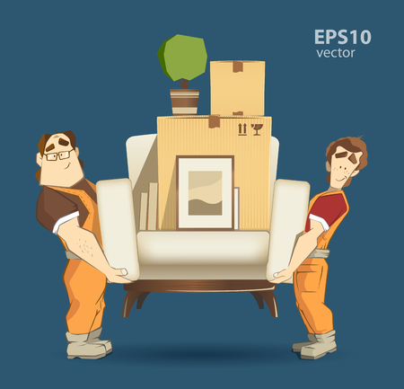 Ilustración de Moving service and delivery company illustration. Two loader mover man holding and carrying sofa with big carton cardboard box. 3d color vector creative concept with characters. - Imagen libre de derechos