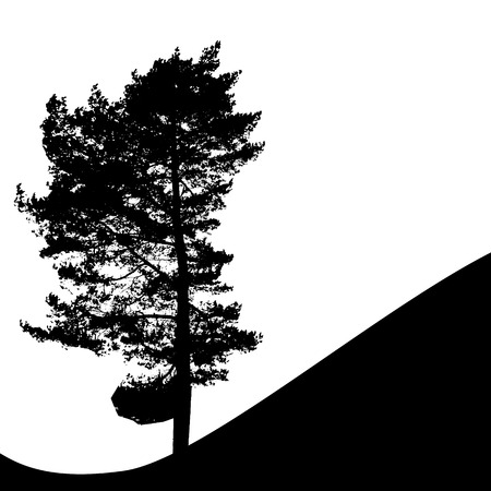 Illustration pour Tree Silhouette Isolated on White Backgorund. Vecrtor Illustration - image libre de droit