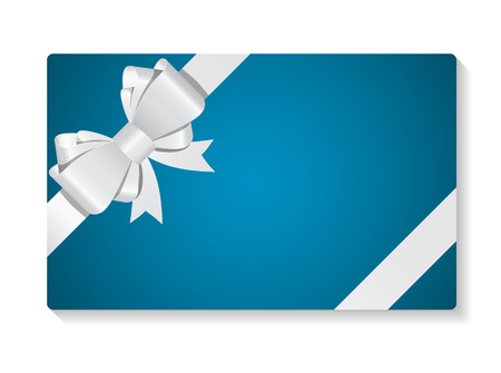Illustration pour Gift Card with Bow and Ribbon Vector Illustration - image libre de droit