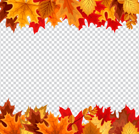 Ilustración de Abstract Vector Illustration Background with Falling Autumn Leaves on Transparent Background - Imagen libre de derechos