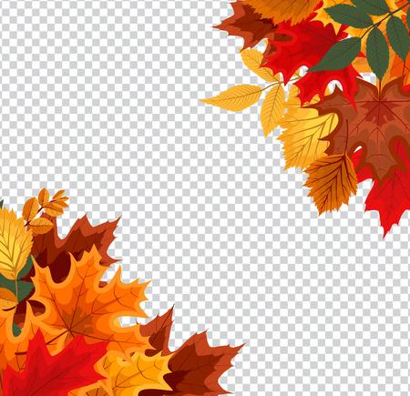 Ilustración de Abstract Vector Illustration with Falling Autumn Leaves on Transparent Background - Imagen libre de derechos