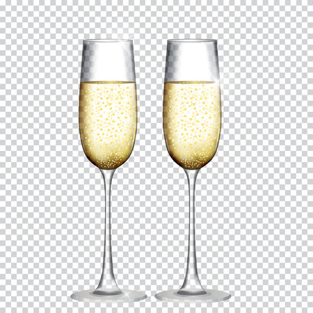 Illustration for Two Glass of Champagne Isolated on Transparent Background. Vector Illustration - Royalty Free Image