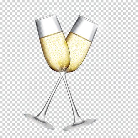 Illustration pour Two Glass of Champagne square patterned background. Vector Illustration - image libre de droit