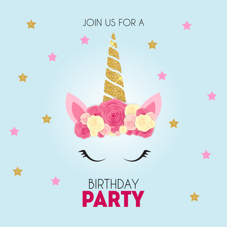 Illustration for Birthday party invitation with cute unicorn and flower. Vector Illustration - Royalty Free Image