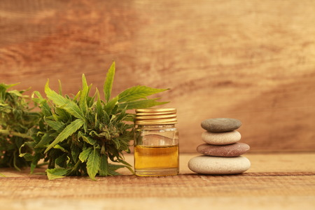 Foto de Green leaves of medicinal cannabis with extract oil on a wooden table. alternative medicine - Imagen libre de derechos