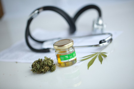 Photo for cannabis, CBD oil ,stethoscope and recipe - Royalty Free Image