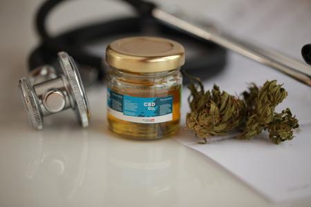 Photo pour cannabis, CBD oil ,stethoscope and recipe - image libre de droit