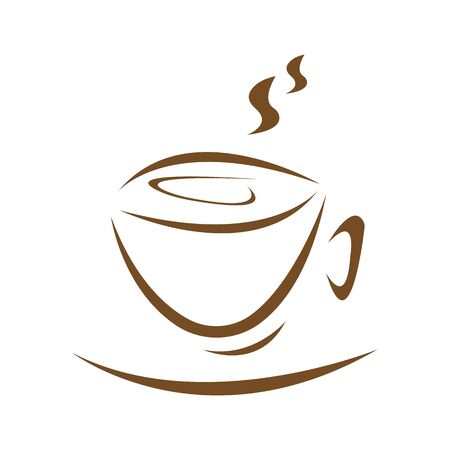 Illustration for Cup of invigorating drink and hot steam coffee concept logo for design on a white background - Royalty Free Image