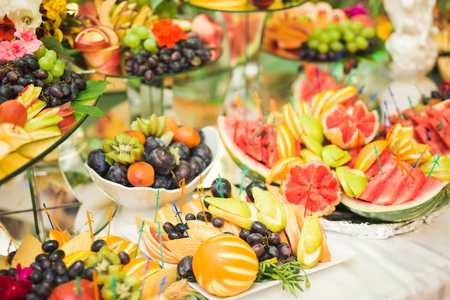 Photo for Authentic buffet, assorted fresh fruits, berries and citrus. Preparation for design creative menu. - Royalty Free Image