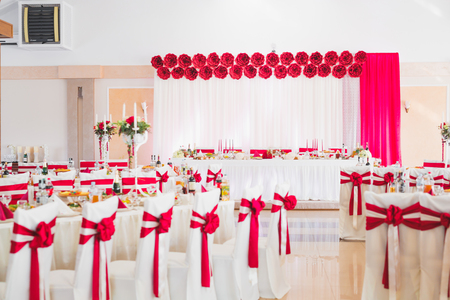 Photo for Interior of a restaurant prepared for wedding ceremony - Royalty Free Image