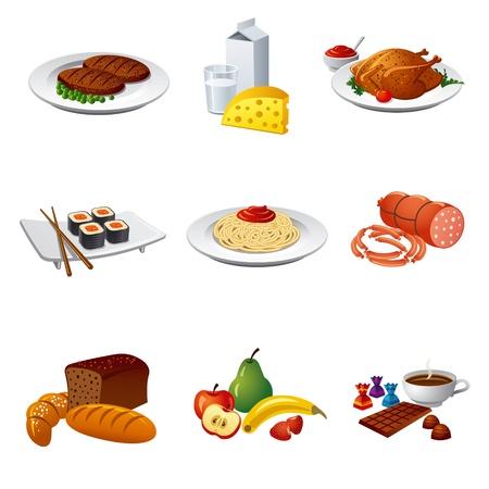 Ilustración de food and meal icon set - Imagen libre de derechos