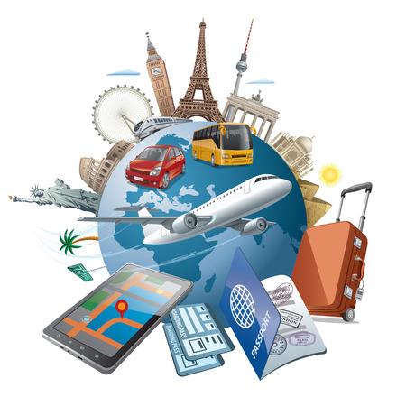 Ilustración de concept illustration of travel around the world famous landmarks by transport air, car, train - Imagen libre de derechos