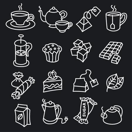 Ilustración de illustration of different dessert and tea icons - Imagen libre de derechos