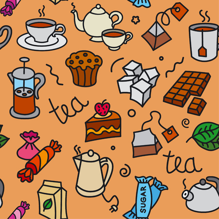 Ilustración de illustration of different dessert and tea seamless pattern - Imagen libre de derechos