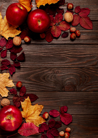 Foto de Flat lay frame of autumn crimson and yellow leaves, hazelnuts, walnuts and apples on a dark wooden background. Selective focus. - Imagen libre de derechos
