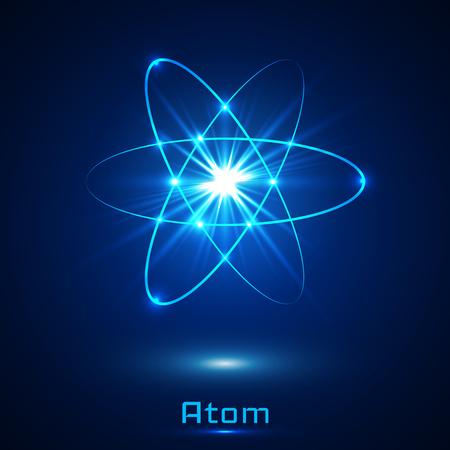 Ilustración de A Vector shining neon lights atom model. - Imagen libre de derechos