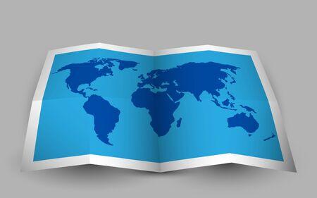 Illustration pour Blue folded world map. Vector illustration. - image libre de droit