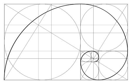 Illustration pour Minimalistic style design. Golden ratio. Geometric shapes. Circles in golden proportion. Futuristic design. Logo. Vector icon. Abstract vector background. - image libre de droit