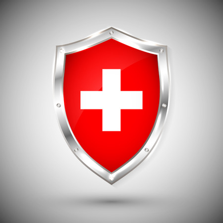 Ilustración de Switzerland flag on metal shiny shield vector illustration. Collection of flags on shield against white background. Abstract isolated object. - Imagen libre de derechos