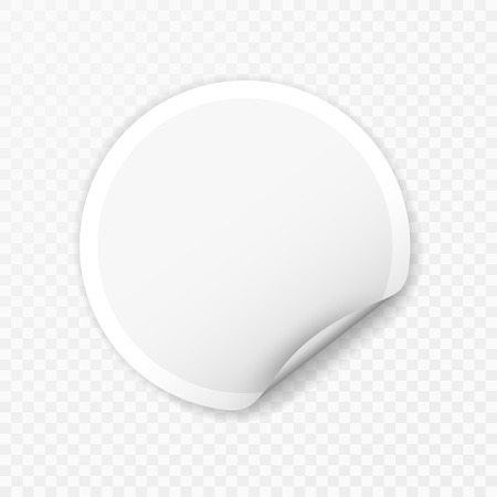 Illustration pour Blank round sticker with curled corners on transparent background, realistic mockup. - image libre de droit