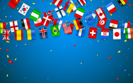 Illustration pour Colorful flags garland of different countries of the europe and world with confetti. Festive garlands of the international pennant. Bunting wreaths. Vector banner for celebration party, conference. - image libre de droit