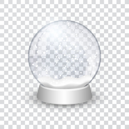 Illustration for snow globe ball realistic new year chrismas object isolated on transperent background with shadow, vector illustration. - Royalty Free Image