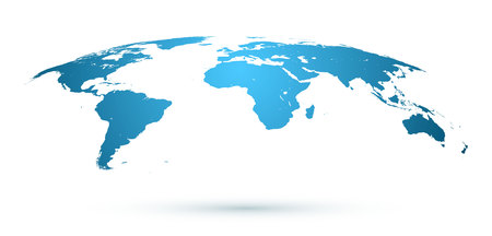 Illustration pour World Map Isolated on White Background in Blue Color. Vector Illustration. - image libre de droit