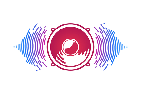Ilustración de Red speaker and sound waves isolated vector illustration. Logo of vox power - Imagen libre de derechos