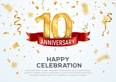 Illustration for 10 years anniversary vector banner template. Tenth year jubilee with red ribbon and confetti on white background - Royalty Free Image