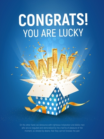 Illustration for WIN gold text. Open textured blue box with confetti explosion inside and golden winning word on blue background vertical illustration. - Royalty Free Image