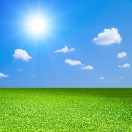 Green field, blue sky with white cloud and bright sun.