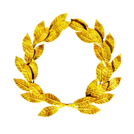 Photo pour Gold laurel wreath isolated on white. - image libre de droit
