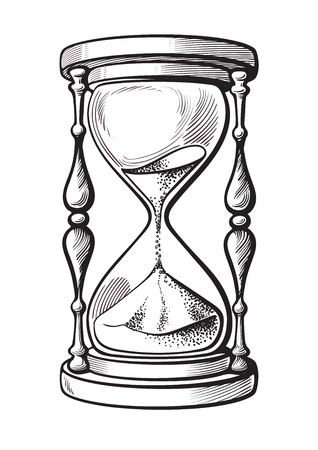 Illustration pour Hourglass black and white hand drawn sketch vector illustration isolated on white background. - image libre de droit