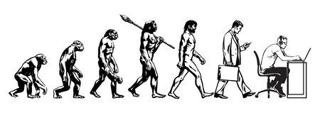 Illustrazione per Theory of evolution of man - Immagini Royalty Free