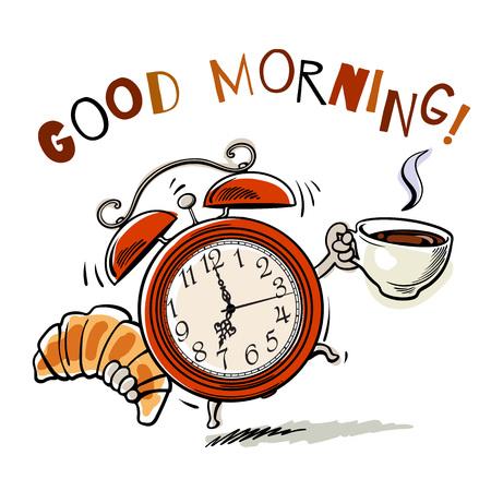 Illustration pour Alarm clock with cup of coffee and croissant - image libre de droit