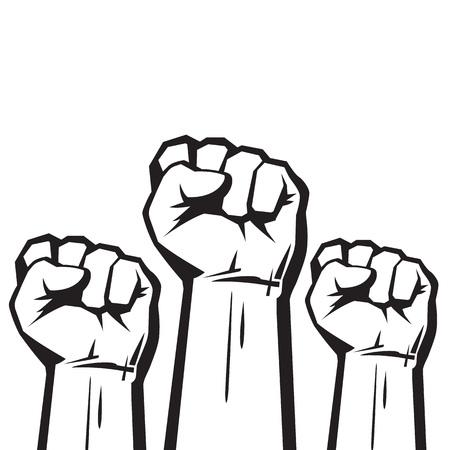 Ilustración de Clenched fists raised in protest. - Imagen libre de derechos