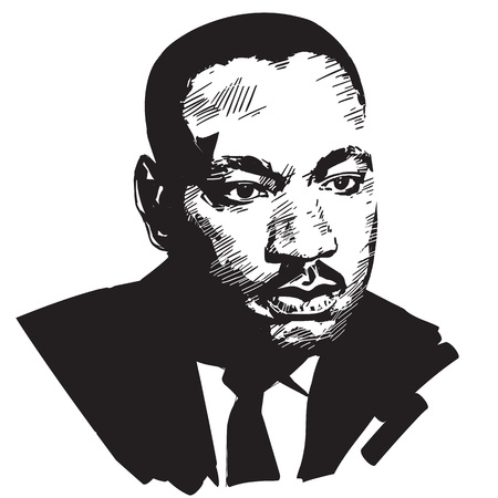 Illustration pour Martin Luther King. Black and white hand drawn vector portrait isolated on white background. - image libre de droit