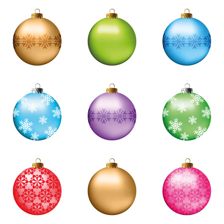 Illustration pour Set of festive Christmas decorations for the Christmas tree. Isolated objects, vector, illustration - image libre de droit