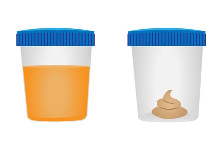 Illustration for Stool and urina test. Medical examination. Vector illustration - Royalty Free Image