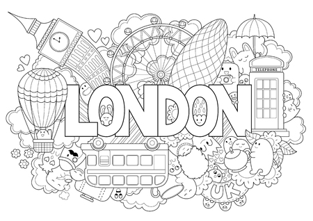 Ilustración de Abstract background with hand drawn text London. Hand lettering. Template for advertising, postcards, banner, web design, printing on clothes. Set of cartoon characters. Line art detailed - Imagen libre de derechos