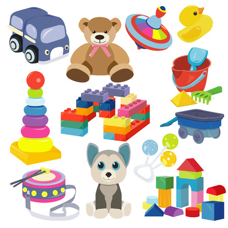Ilustración de Cartoon baby toy set. Cute object for small children to play with, toys, stuffed animals, fun and activity. Vector flat style cartoon illustration isolated on white background. - Imagen libre de derechos