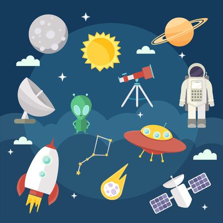 Illustration pour Set of vector flat cartoon cosmic icons. Space exploration, flights - image libre de droit